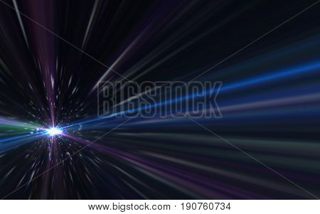 Abstract lens flare speed light on space