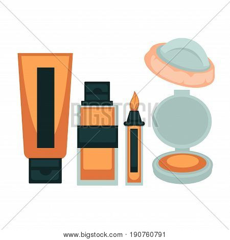 Face skin make up cosmetic tools colorful vector poster in flat design. Cosmetic liquid foundation creamin special bottle, powder in plastic box, brush concealer mean and sponge isolated on white