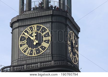 Details on St. michaelis church tower in Hamburg city in Germany