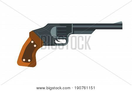 Vector illustration of old revolver handgun on the white background.