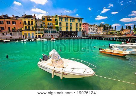 Peschiera Del Garda Colorful Harbor And Boats View