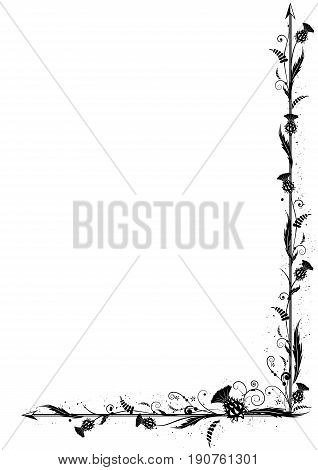 vector border with thistle in black and white colors for corner design