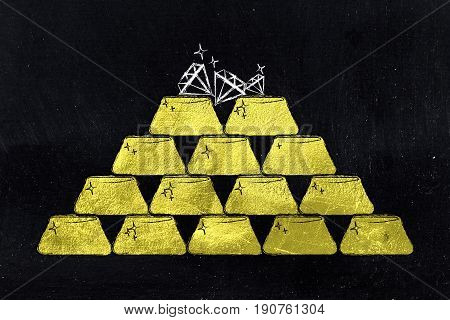 Pile Of Gold Ingots And A Few Diamonds On Top