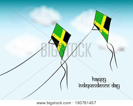 illustration of Kites in Jamaica flag background with Happy Independence day text on occasion of Jamaica independence day