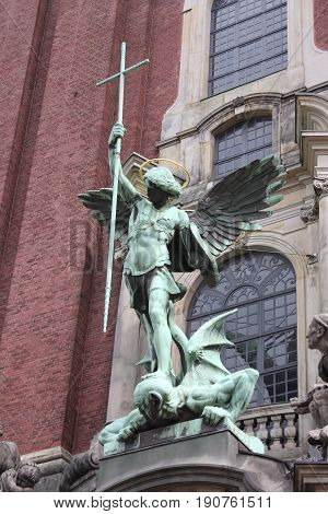 Details on St. michaelis church in Hamburg city in Germany