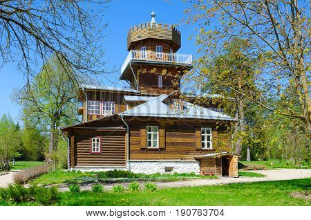 ZDRAVNEVO BELARUS - MAY 18 2017: Main manor house of Museum-Estate of great Russian artist I.E. Repin