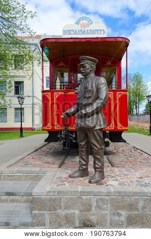 VITEBSK BELARUS - MAY 21 2017: Monument to first Vitebsk tram and monument to conductor Belarus