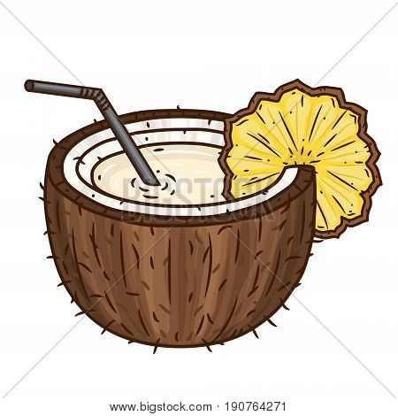 The cocktail Pina colada with a straw and slice of pineapple isolated on white background. Brown coconut. Coconut Water Drink