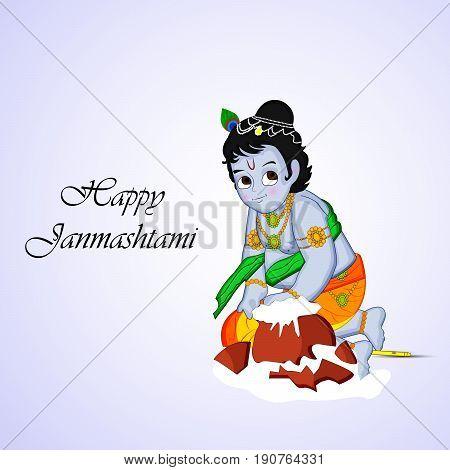 illustration of Indian god Krishna and pot of butter with Happy Janamashtami text on occasion of hindu festival Janamashtami
