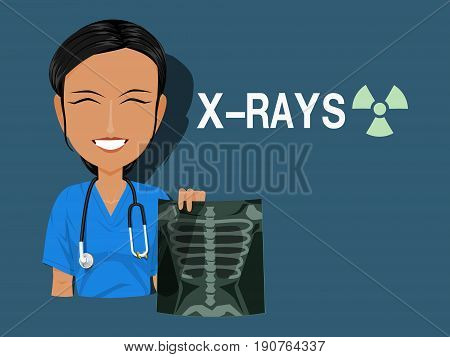 A medical staff is holding the X rays film on blue background