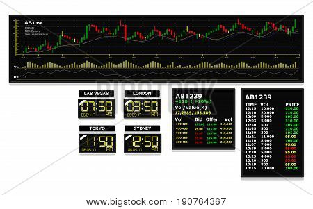 Set of stock chart in monitor. They're a good element for making business background
