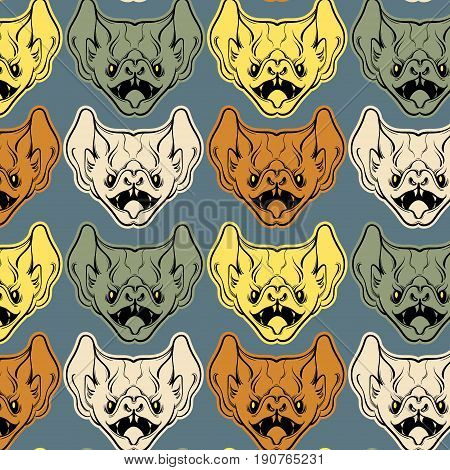 Colorful vector pattern with illustration of angry bat with fangs in hand drawn line style isolated. Template for card poster banner print for t-shirt.