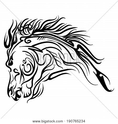 Vector line art horse head tattoo sketch isolated on white background