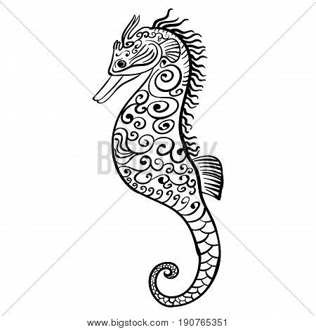 Stylized tattoo sketch black and white icon of a seahorse on white background