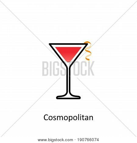 Cosmopolitan cocktail icon in flat style. Vector illustration