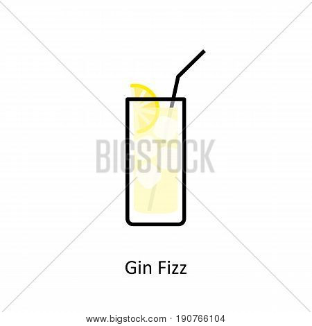 Gin Fizz cocktail icon in flat style. Vector illustration