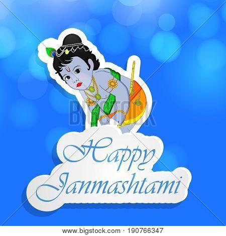 illustration of hindu god krishna with Happy Janamashtami text on the occasion of hindu festival Janamashtami