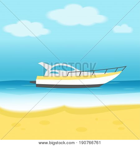 Isolated Sailing Boat, Ship, Motorboat, Luxury Yacht In The Sea