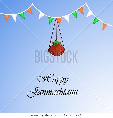 illustration of hanging pot of butter with Happy Janamashtami text on the occasion of hindu festival Janamashtami