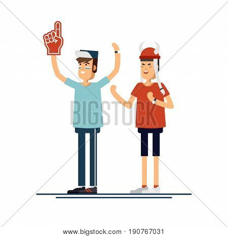 Vector flat illustration people character sport fans standing. Young man with flags make up and accessories fans