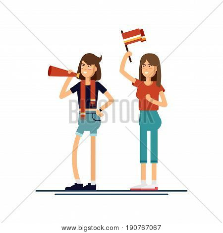 Vector flat illustration people character sport fans standing. Young woman with flags make up and accessories fans