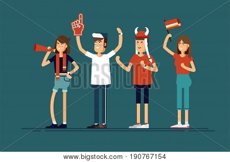 Vector flat illustration people character sport fans standing. Woman and man with flags make up and accessories fans