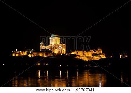 Esztergom town, Esztergom castle along Donube midnight