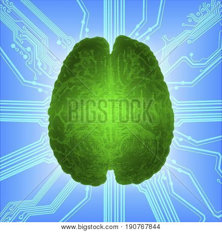 Wired green glowing brain over computer microcircuit. Artificial intelligence (AI) and High Tech Concept.