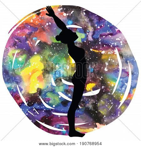 Women silhouette on galaxy astral background. Standing backbend yoga pose. Ardha Anuvittasana Vector illustration.