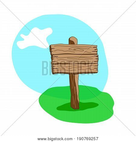 Square Shape Cartoon Wooden Signpost