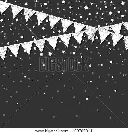 Garland Flags. Beauteous Celebration Card With White Stitched Cutout Paper Garland Flags And Confett