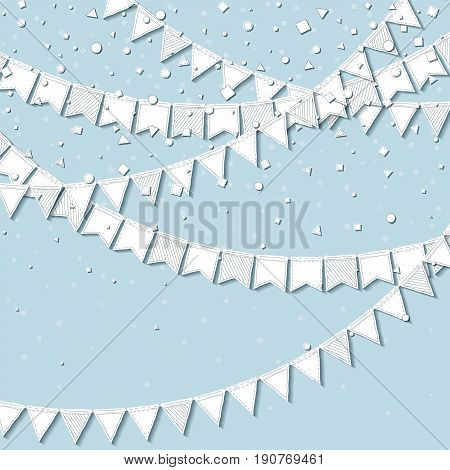 Bunting Party. Magnificent Celebration Card With White Stitched Cutout Paper Bunting Party And Confe