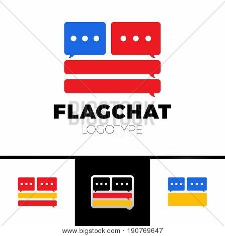 Chat, Talk Logo Or Icon For The Club For The Study Or Improve American Language. Country Flag Logoty