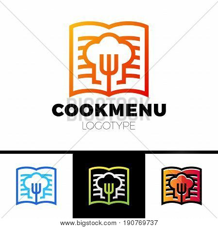 Recipe Or Cooking Book Logo Template Design. Menu With The Fork Icon