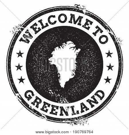 Vintage Passport Welcome Stamp With Greenland Map. Grunge Rubber Stamp With Welcome To Greenland Tex
