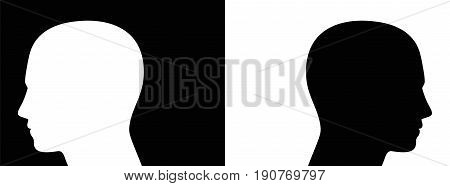 Separation, controversy, opponents - symbolically depicted with two opposed silhouettes of heads on black and white background - also symbol for enmity, polarity, contrast or ignorance.