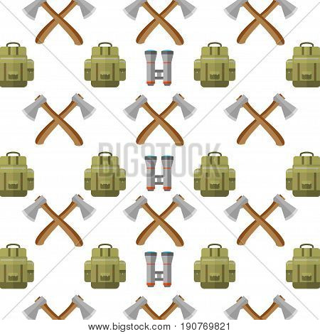 Pattern with mountain camping elements. Set of hiking gear for forest camp. Vector background with binoculars,  backpack and axe.