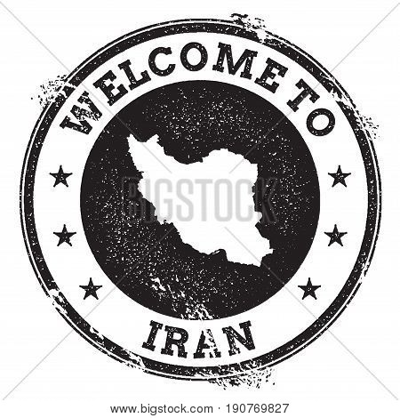Vintage Passport Welcome Stamp With Iran, Islamic Republic Of Map. Grunge Rubber Stamp With Welcome