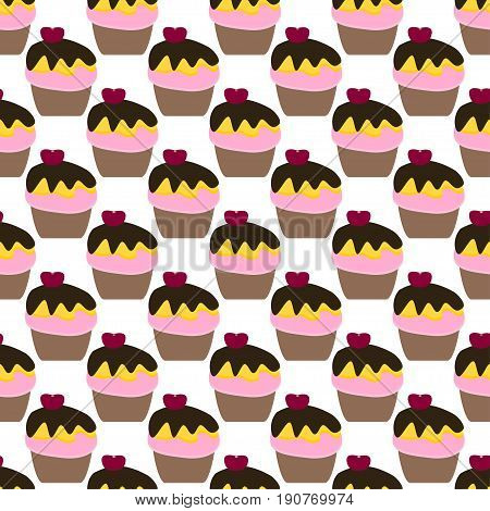 Cute seamless pattern with cakes. Concept of obesity.  Website colorful background. Template for menu of fast food restaurant or unhealthy lifestyle infographics.
