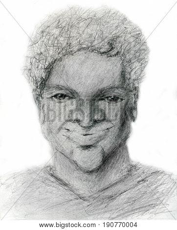confident black man, hand drawn raster illustration