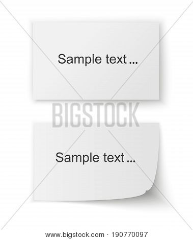 Collection of various white papers, leaves for the label ready for Your message. Vector illustration.