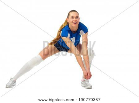 Young woman volleyball player isolated (without ball ver)