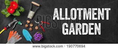 Garden tools on a dark background - Allotment Garden