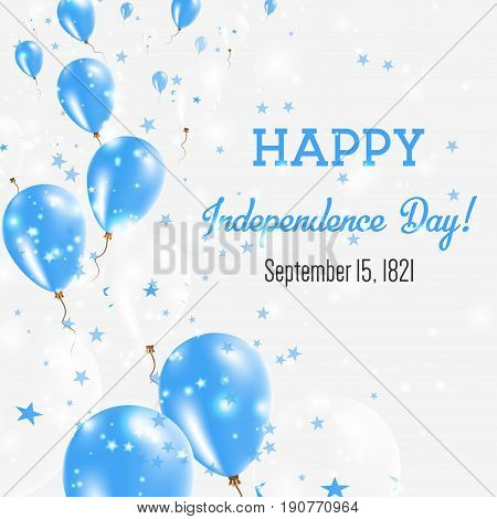 Honduras Independence Day Greeting Card. Flying Balloons In Honduras National Colors. Happy Independ