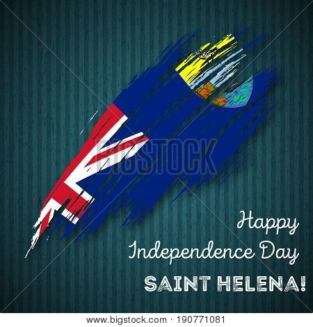 Saint Helena Independence Day Patriotic Design. Expressive Brush Stroke In National Flag Colors On D