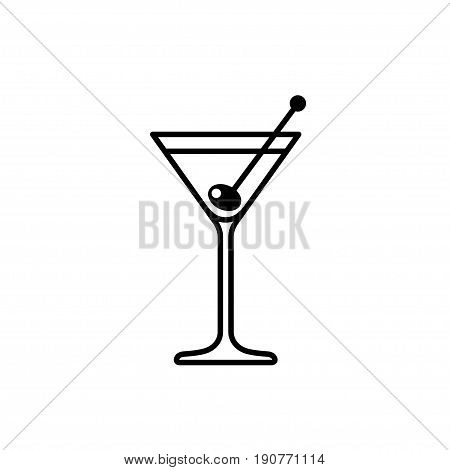 Martini cocktail with olive line icon. Vector illustration