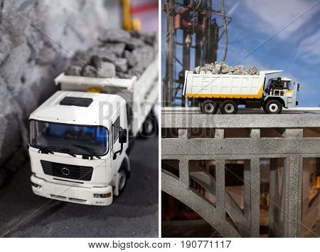 Small dump truck model on a road transporting gravel. Plastic toy lorry on a bridge. Industrial machinery demonstration