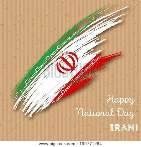 Iran Independence Day Patriotic Design. Expressive Brush Stroke In National Flag Colors On Kraft Pap