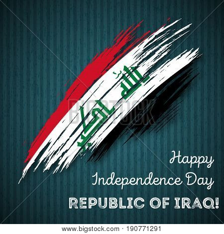 Republic Of Iraq Independence Day Patriotic Design. Expressive Brush Stroke In National Flag Colors