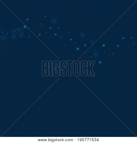 Sparse Glowing Snow. Top Wave With Sparse Glowing Snow On Deep Blue Background. Vector Illustration.